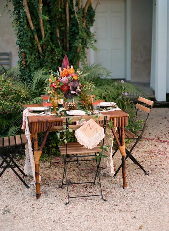 Tropical wedding tables cape