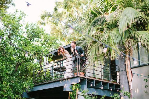 Backyard fiesta wedding portrait