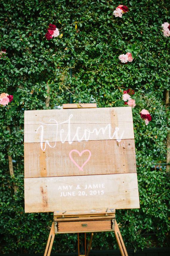 Wood wedding signage