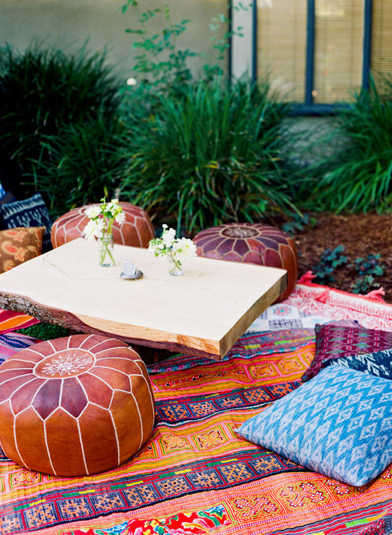 Backyard fiesta wedding lounge area