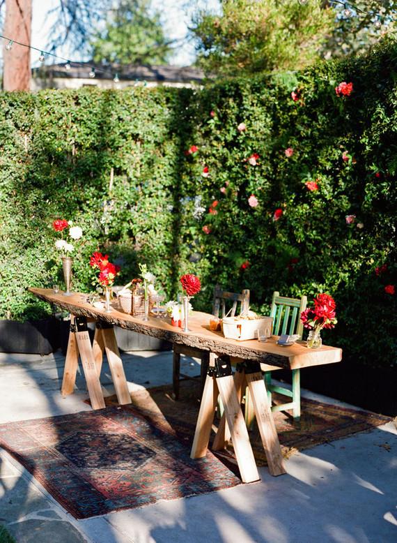 Backyard fiesta wedding tablescape
