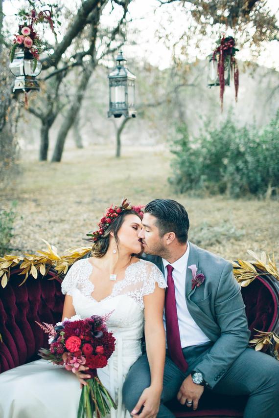 Moody forest wedding portrait