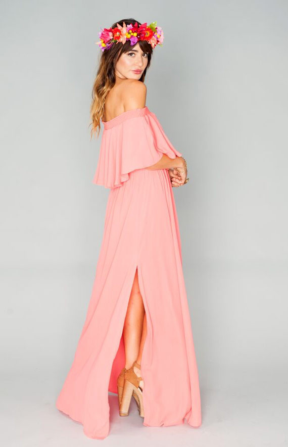 off shoulder pink bridesmaid wears