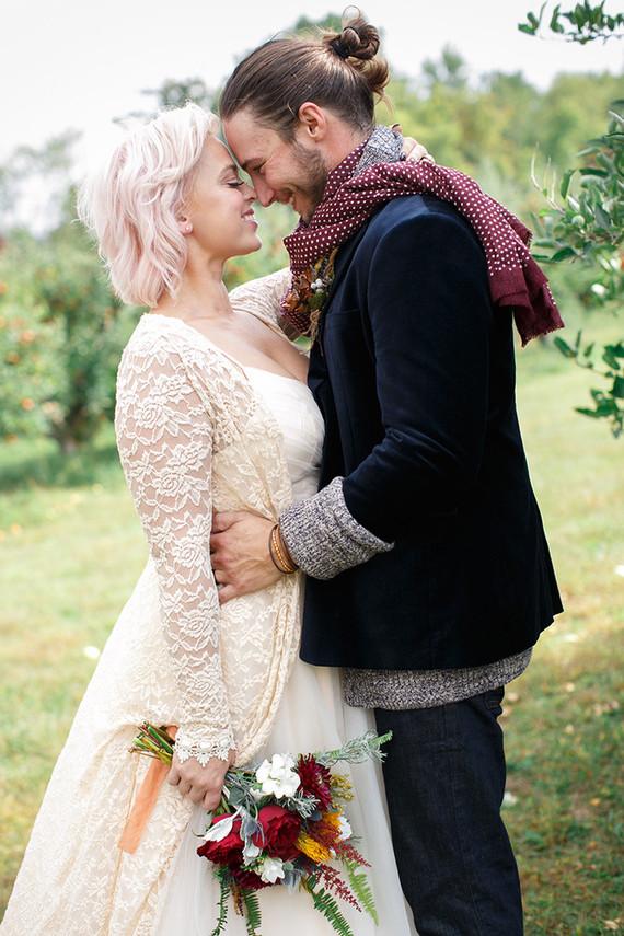 Apple orchard wedding portraits