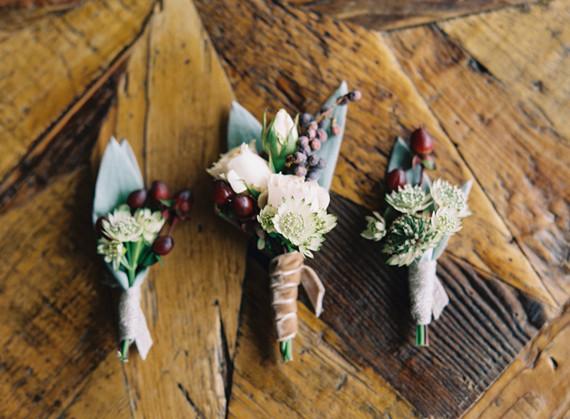 Winter wedding boutonnieres