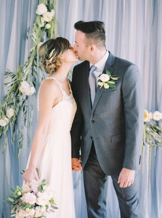 Winter blue wedding portrait