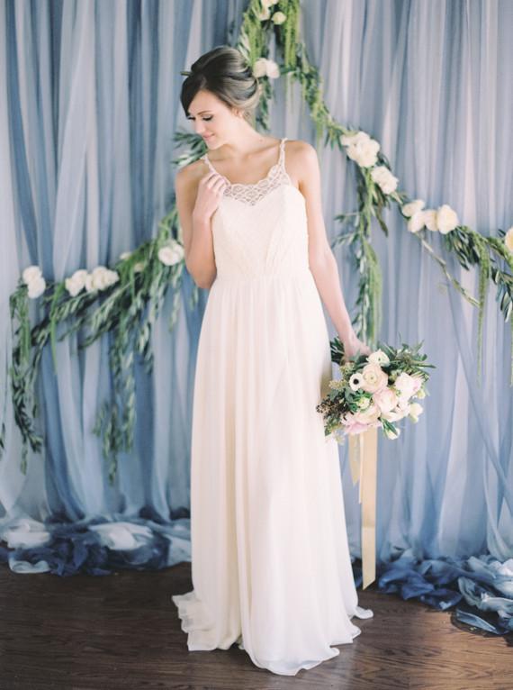 Winter blue bridal portrait