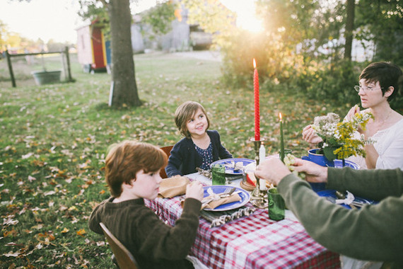 Fall family dinner on the farm