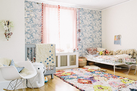 bohemian modern shared girls room