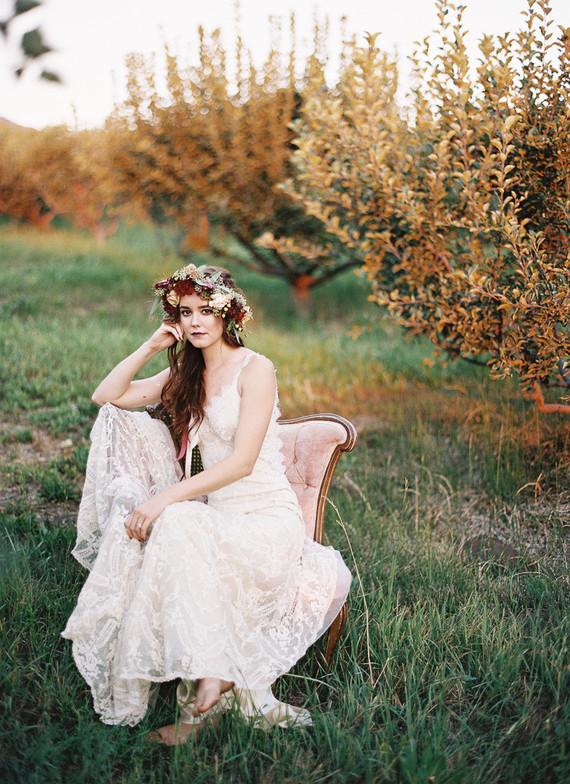 Bohemian bridal portrait