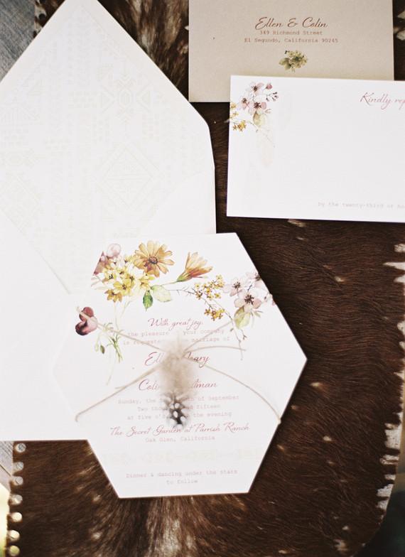 Fall bohemian wedding invitation