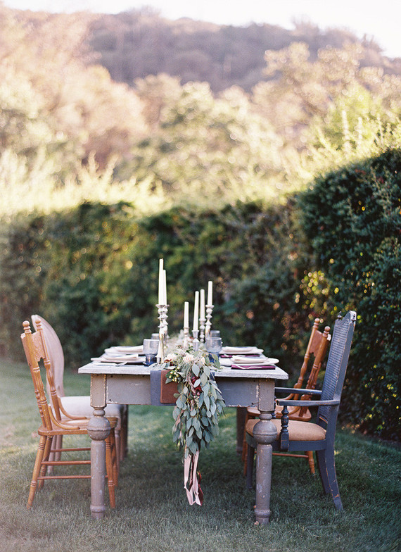 Fall bohemian wedding tablescape