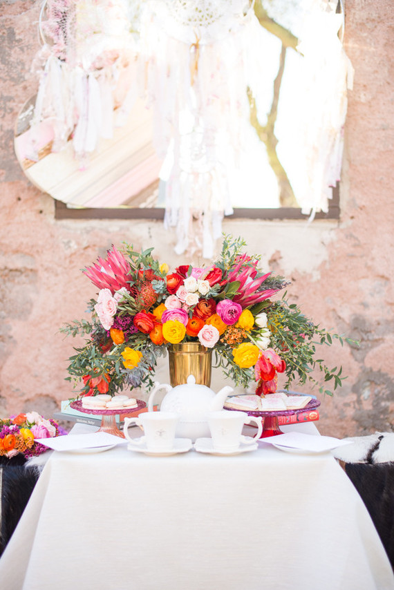 Bright florals in rustic setting