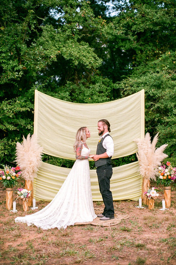 Bohemian ceremony decor