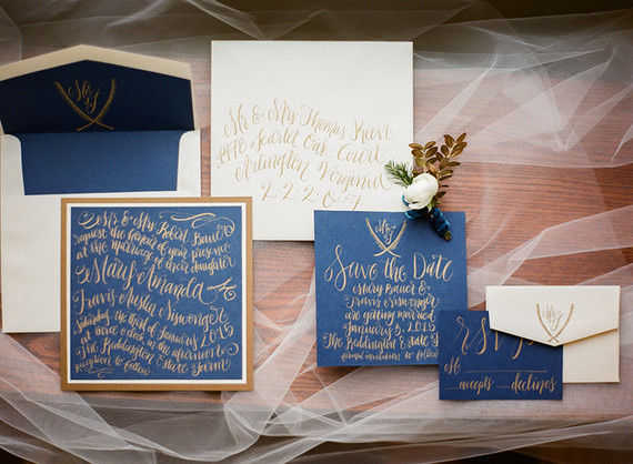 Blue and gold winter invitation