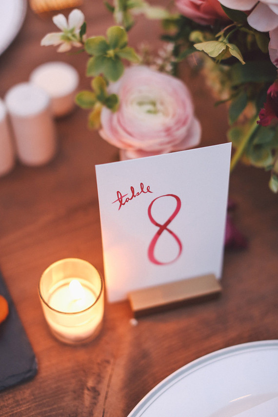 Calligraphed table number