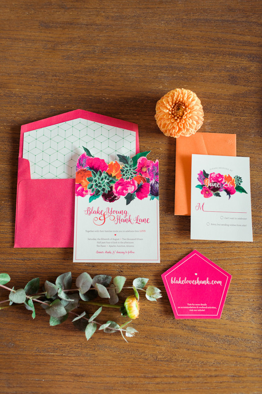 Colorful geometric wedding invitation