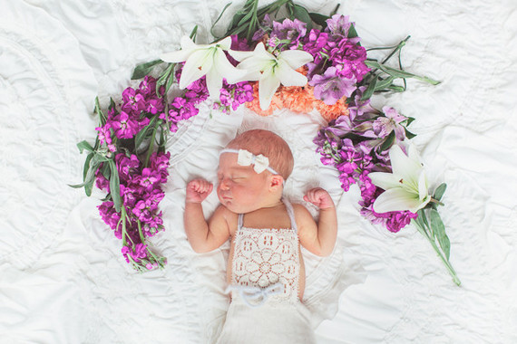 floral styled newborn photos