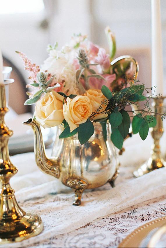Vintage tea pot floral centerpiece