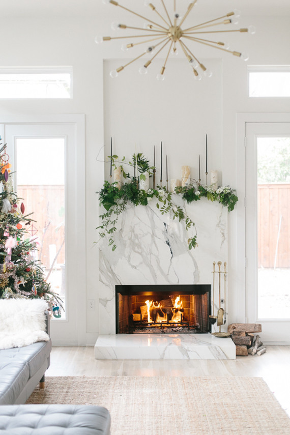 Holiday mantel two ways diy holiday decor 100 layer cake - Modern christmas mantel ideas ...