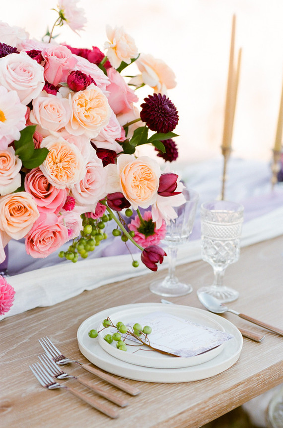 Pink rose and dahlia centerpiece