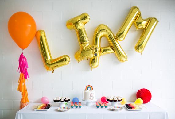 Gold mylar letter balloons