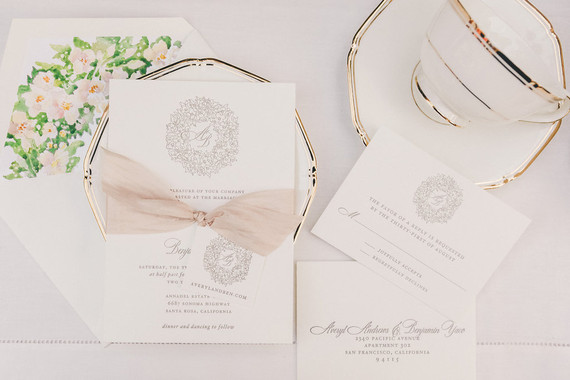 Elegant fall wedding invitation suite