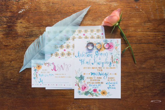 Colorful handwritten wedding invitation
