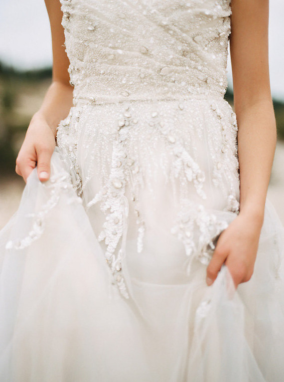 Elegant beaded wedding dress