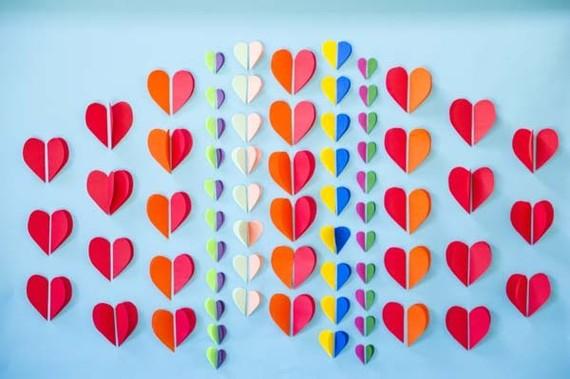 Cut hearts backdrop