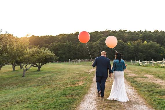 Whimsical Cape Cod farm wedding portrait