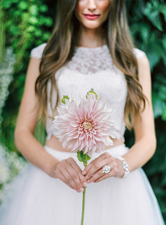 Romantic garden bridal portrait