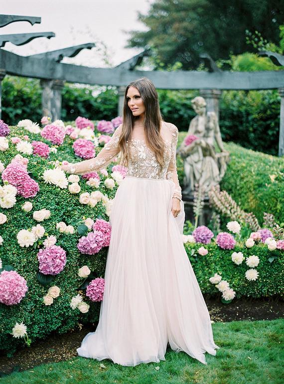 Romantic garden bridal portrait