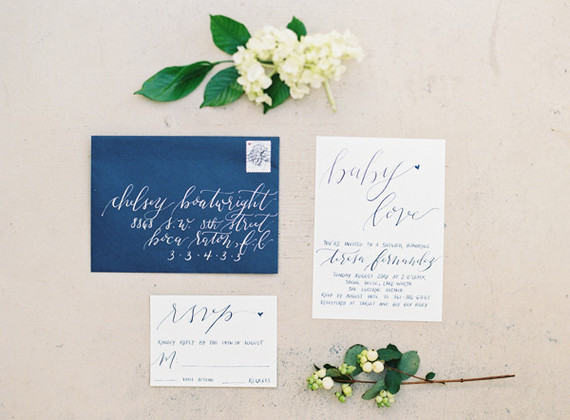 Classic white floral baby shower invites