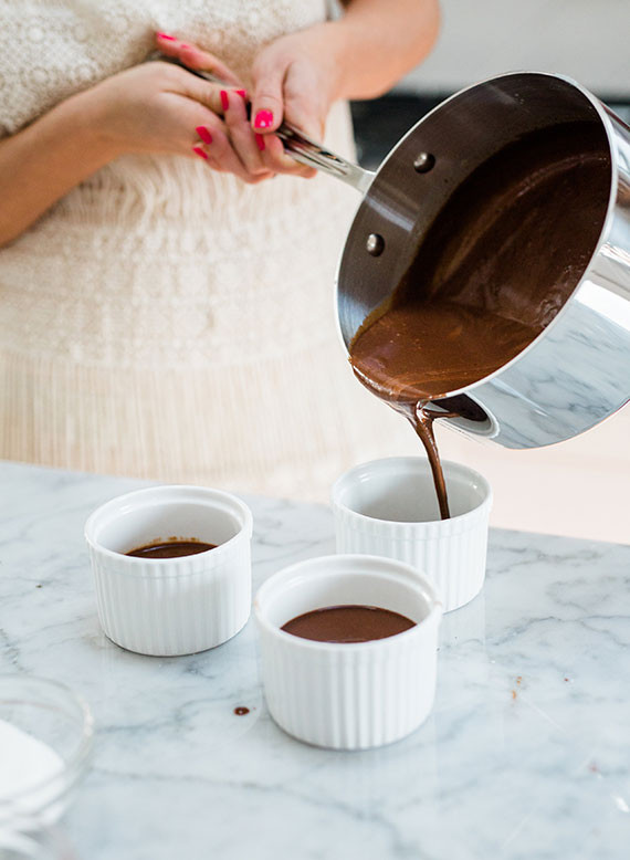 Valentine's Day chocolate pot de creme dessert