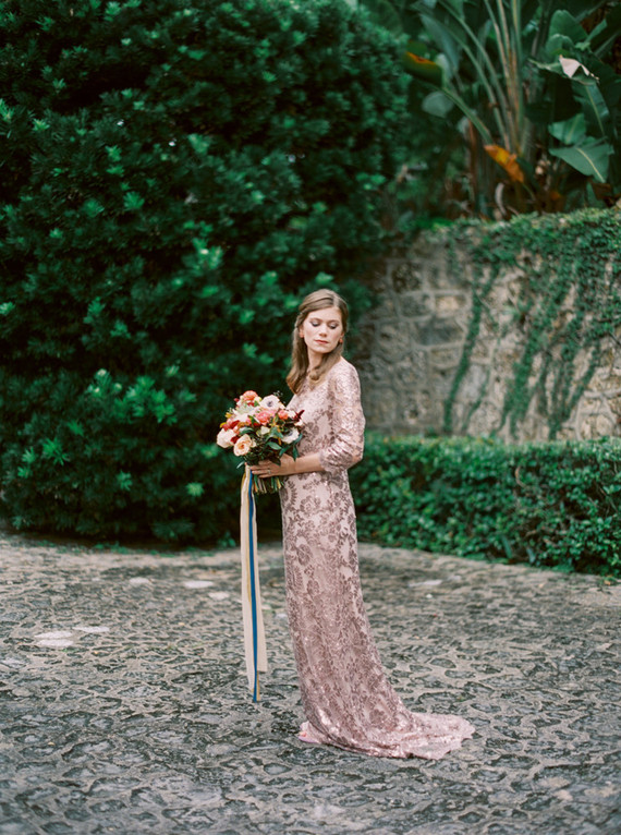 Sequined lace gown