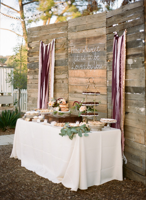 Rustic dessert table backdrop