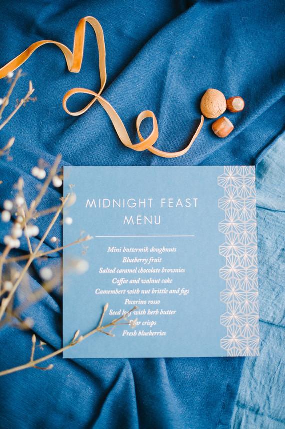 Copper and blue wedding menu