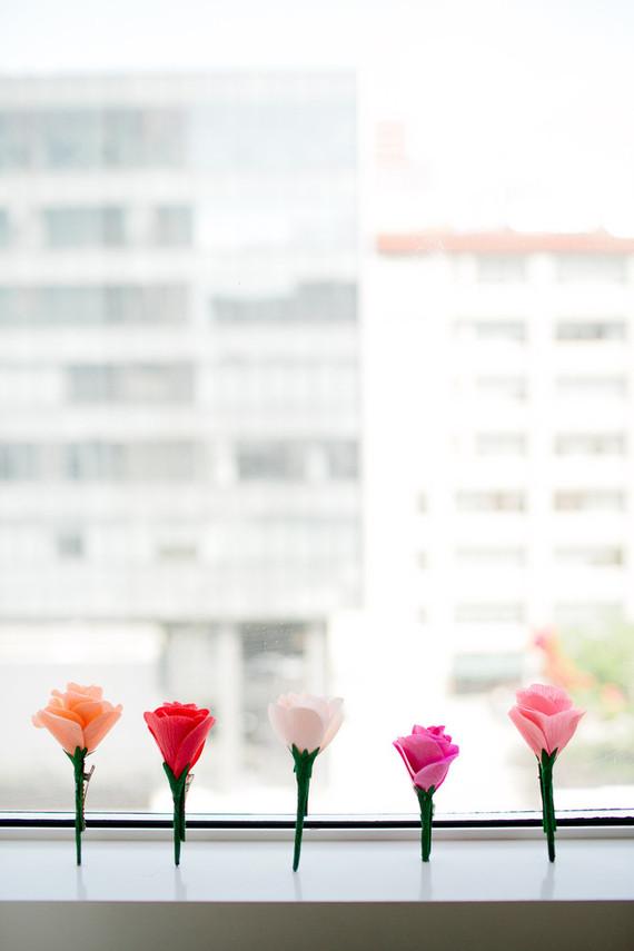 Crepe paper wedding florals