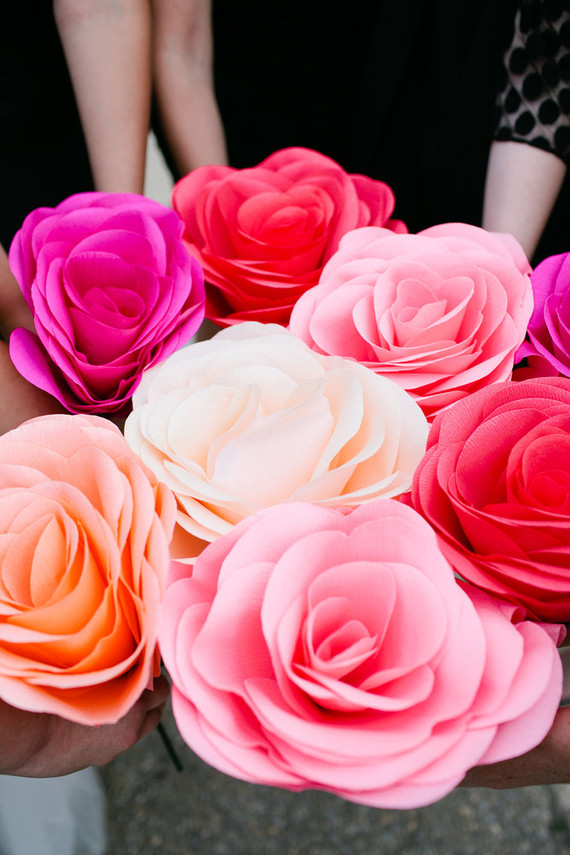 Crepe paper wedding bouquets