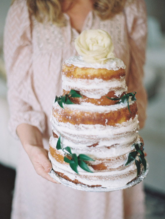 messy floral naked cake