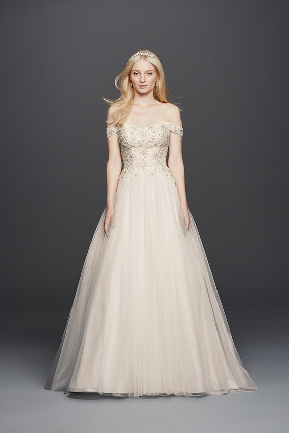 David 39 s bridal oleg cassini spring 2016 100 layer cake for Wedding dress with swag sleeves