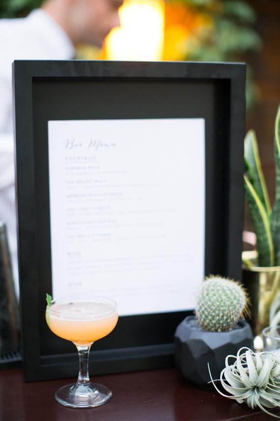 Bar menu signage