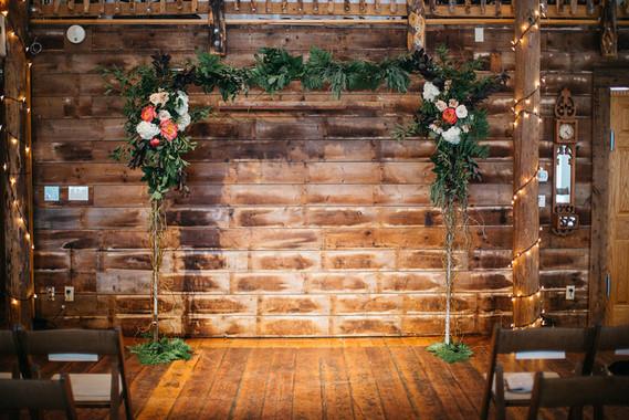 Vintage barn wedding altar