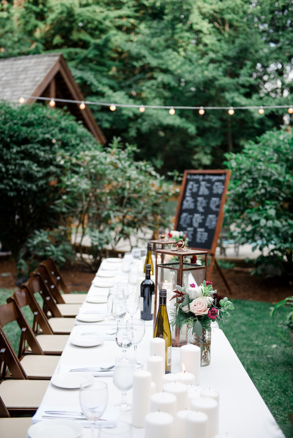 Bohemian backyard wedding reception