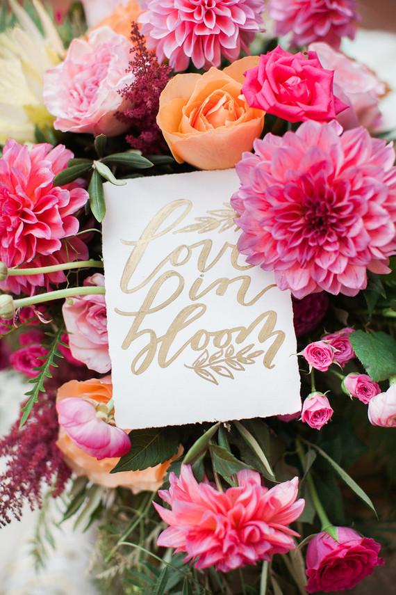 Colorful spring wedding signage