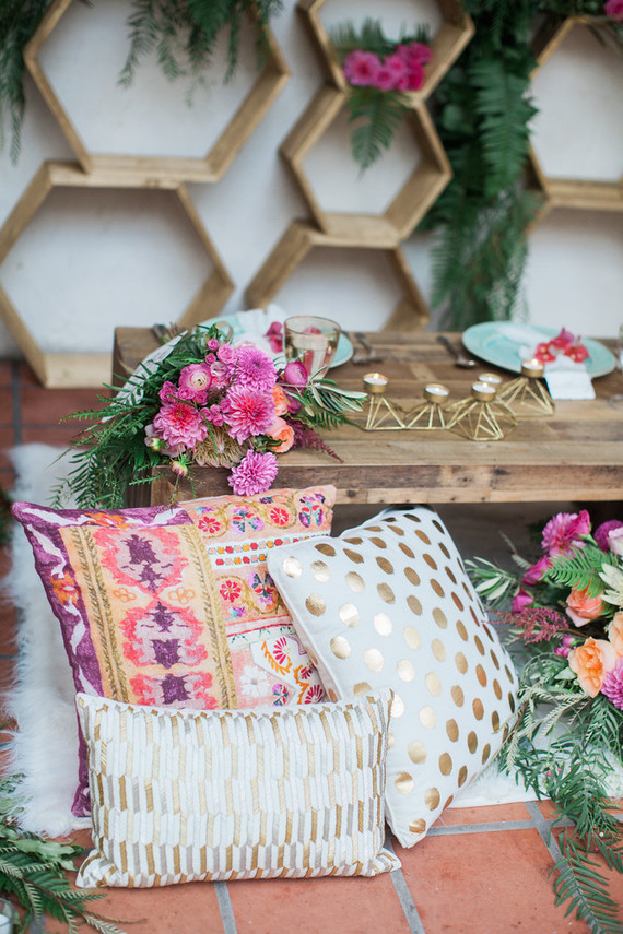 Colorful spring wedding decor