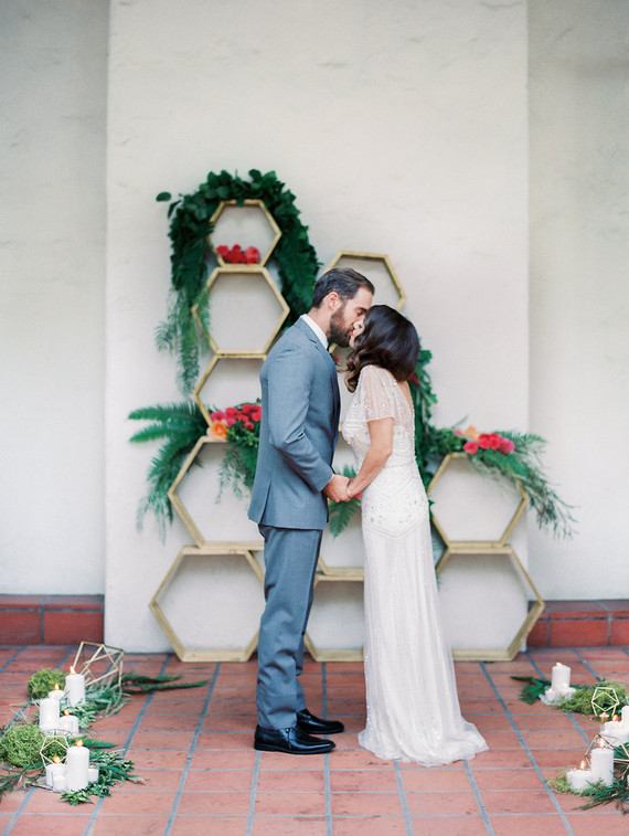 Colorful spring wedding portrait