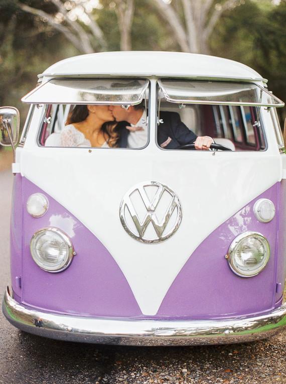 Volkswagen wedding portrait
