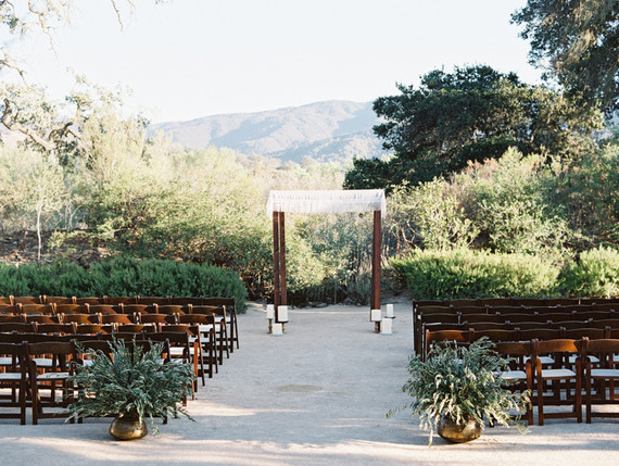 Fall Santa Barbara wine country wedding ceremony